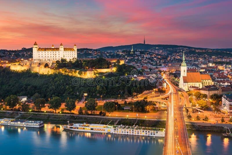 Skyline of Bratislava, Slovakia. Sunset skyline of Bratislava, Slovakia stock photo