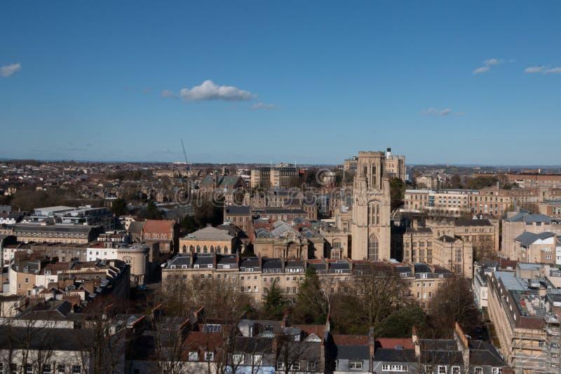 Wills memorial building from above. Skyline of Bristol with the Wills memorial building stock images