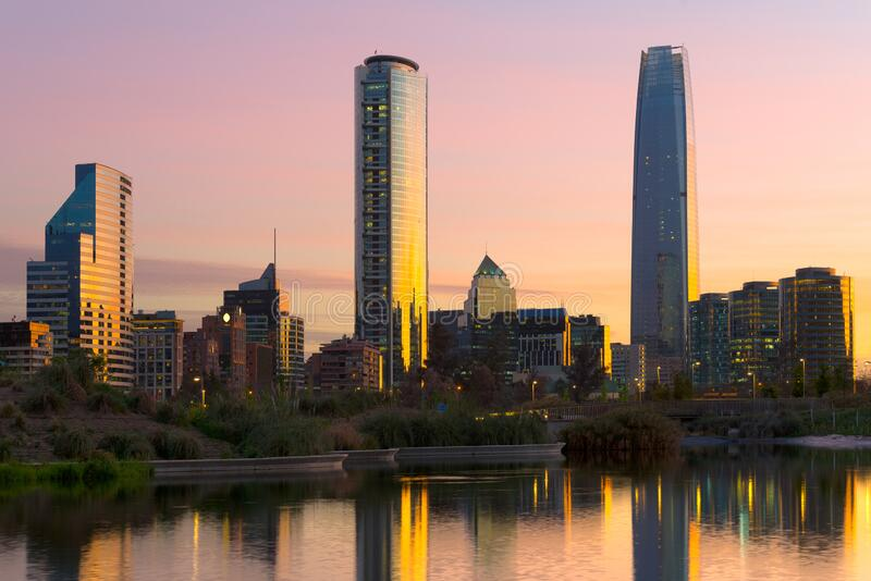 Skyline of buildings at Las Condes district, Santiago royalty free stock image