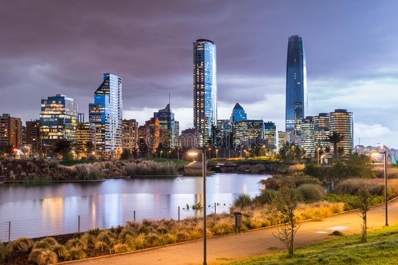 Skyline of buildings at Las Condes,  Vitacura and Providencia districts in Santiago royalty free stock image