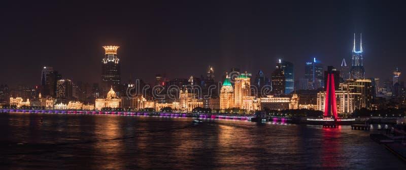 Skyline of the Bund in city of Shanghai at night stock photos
