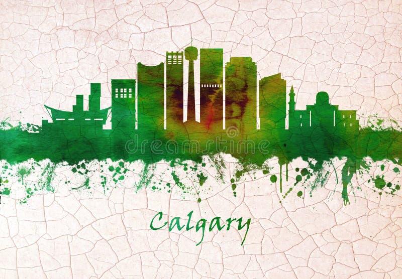 Calgary Canada skyline. Skyline of Calgary, a cosmopolitan Alberta city with numerous skyscrapers stock illustration