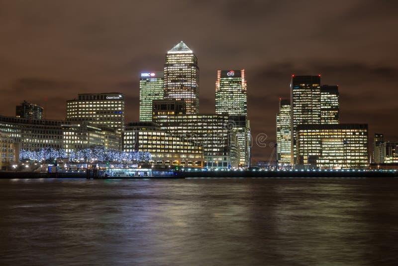 Skyline of Canary Wharf in London stock photo