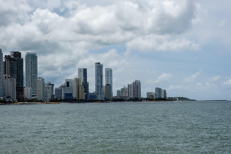 Skyline of Cartagena, Columbia arkivbild
