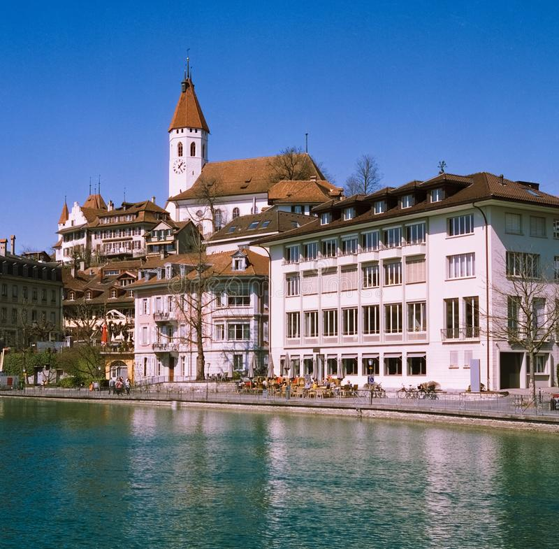 The  skyline and the castle of Thun at the very beginning of spring, shot with analogue film photography royalty free stock images