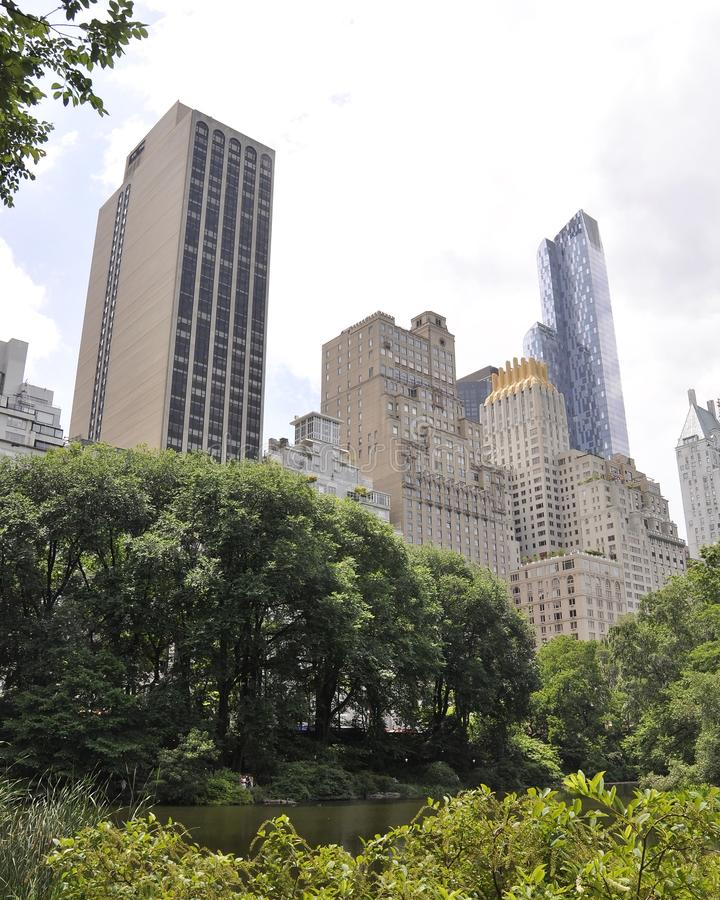 Skyline from Central Park in Midtown Manhattan from New York City in United States. On 1st July 2017 stock images