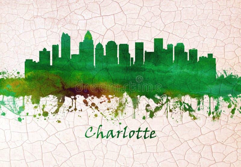Charlotte North Carolina skyline stock illustration