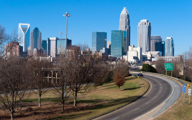 Skyline of Charlotte, NC royalty free stock photography