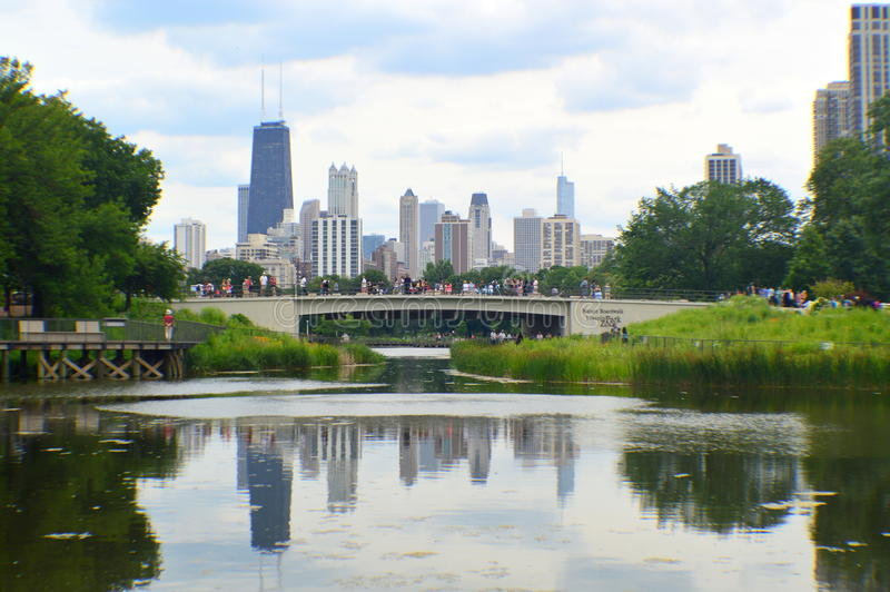 Skyline Chiago from Lincoln Park stock photo