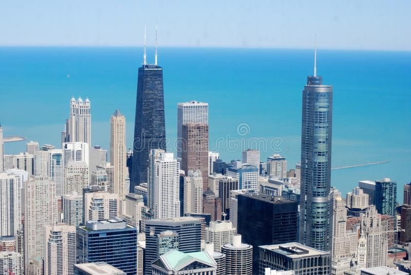 Skyline of Chicago Downtown Illinois stock images
