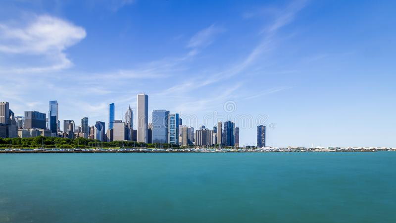 Skyline of Chicago over Lake Michigan stock images