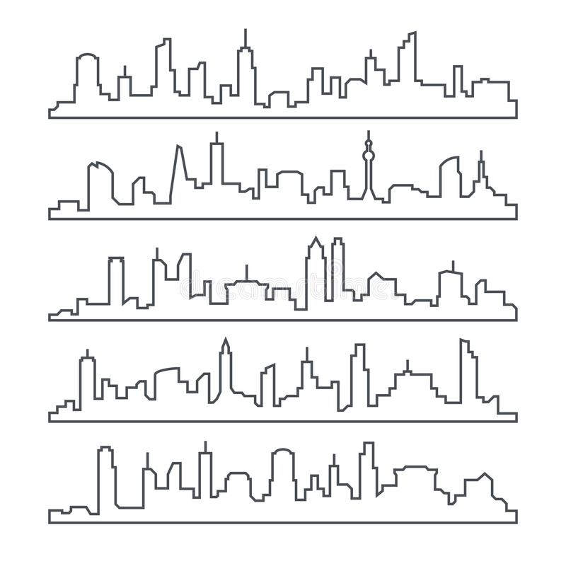 Skyline city. Building line of town. Outline urban vector cityscape set isolated royalty free illustration
