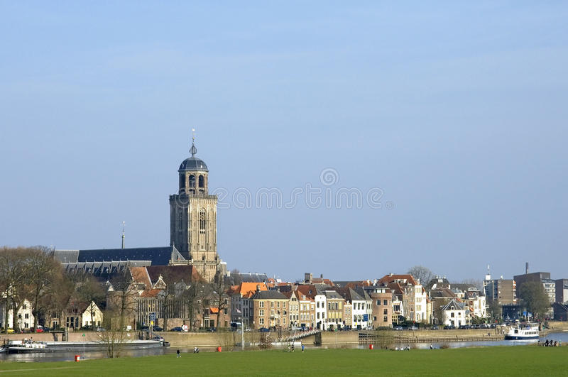 Skyline city Deventer and river Ijssel royalty free stock images