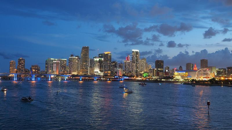 City of Miami skyline in twilight. royalty free stock images