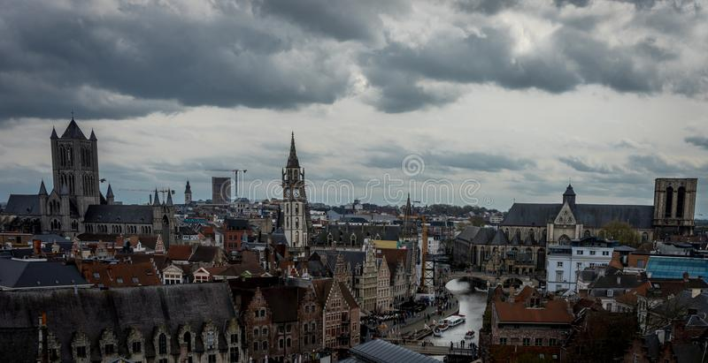 the skyline of the city og Ghent viewed from the gravensteen castle in Ghent, Belgium stock photos