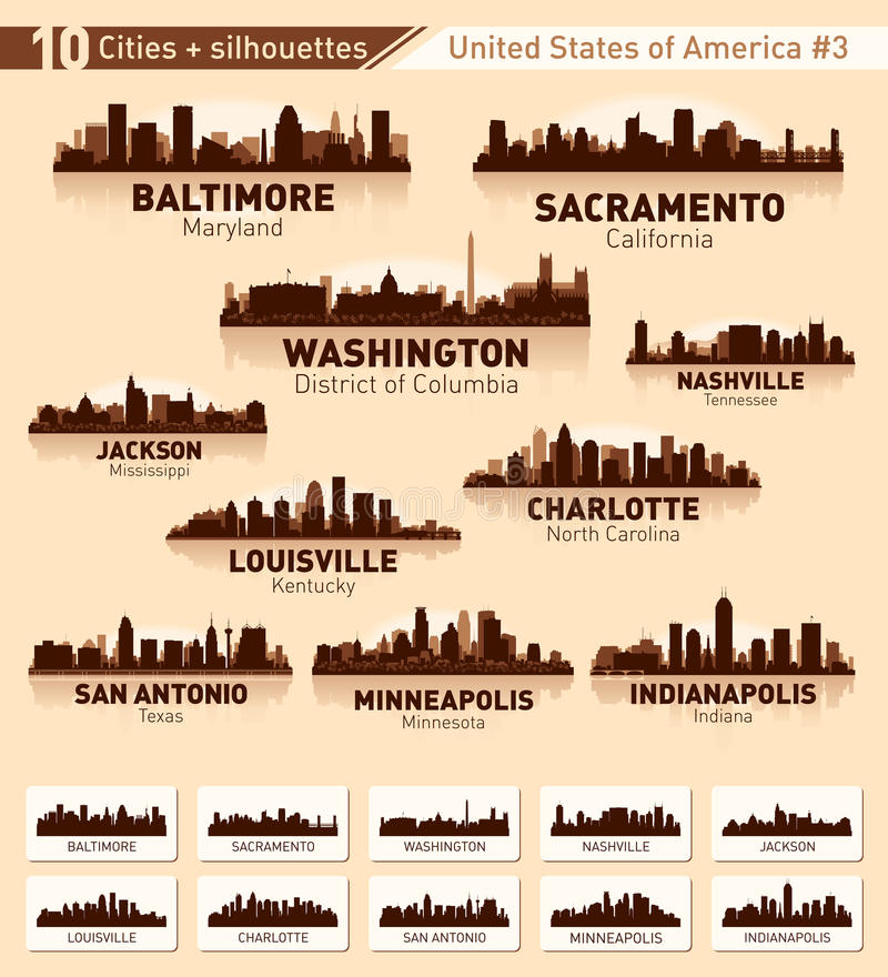 Skyline city set. 10 cities of USA #3 vector illustration