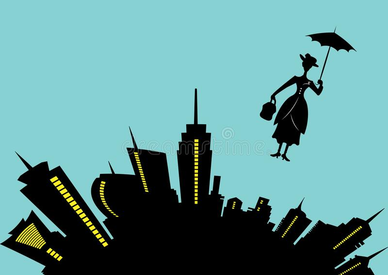 Silhouette girl floats with umbrella in his hand, Mary Poppins style, vector illustration vector illustration