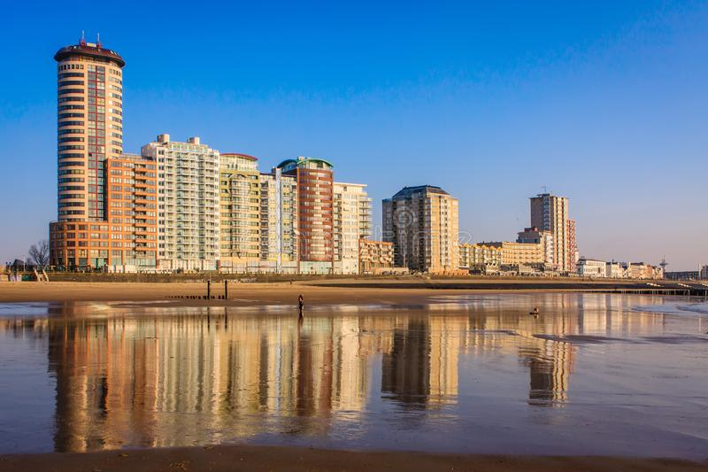 Skyline of a city. The skyline of Vlissingen, the Netherlands, with high apartment buildings can already be seen from far away on the sea and on Walcheren royalty free stock photo