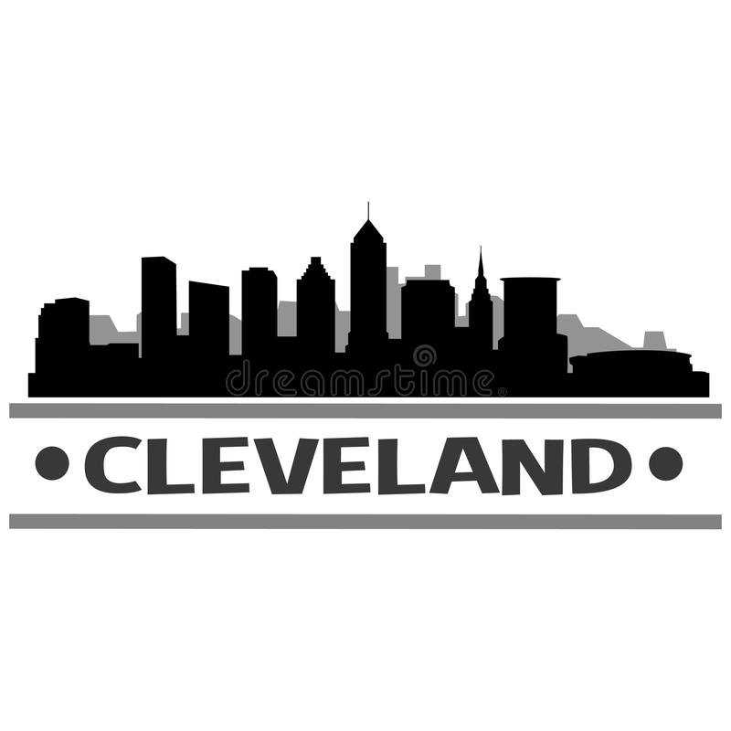 Cleveland Skyline City Icon Vector Art Design. A skyline of Cleveland city with emblematic buildings royalty free illustration