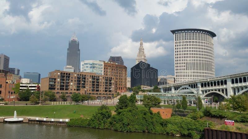 Skyline Cleveland Ohio from the Cuyahoga River stock photos