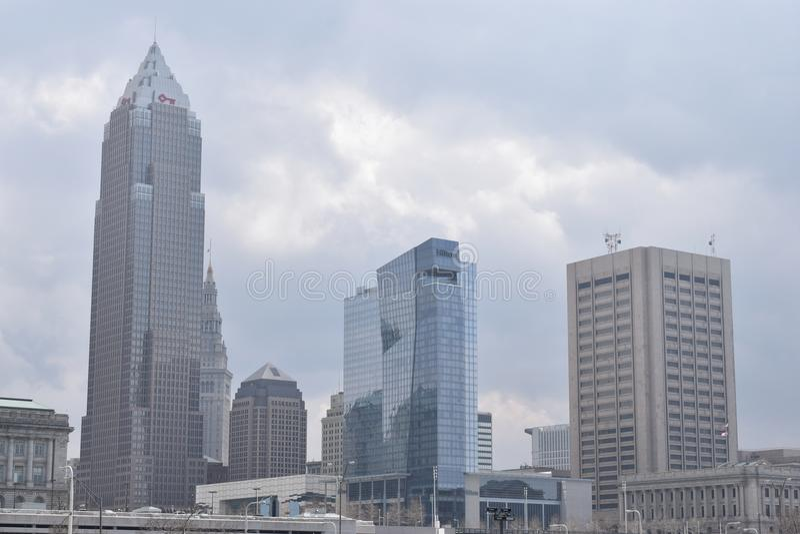 Skyline in Cleveland, Ohio, USA royalty free stock images
