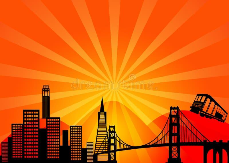 Skyline Clipart da cidade de San Francisco Califórnia ilustração royalty free