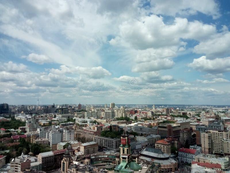 skyline with clouds under big city, Kiev royalty free stock photo