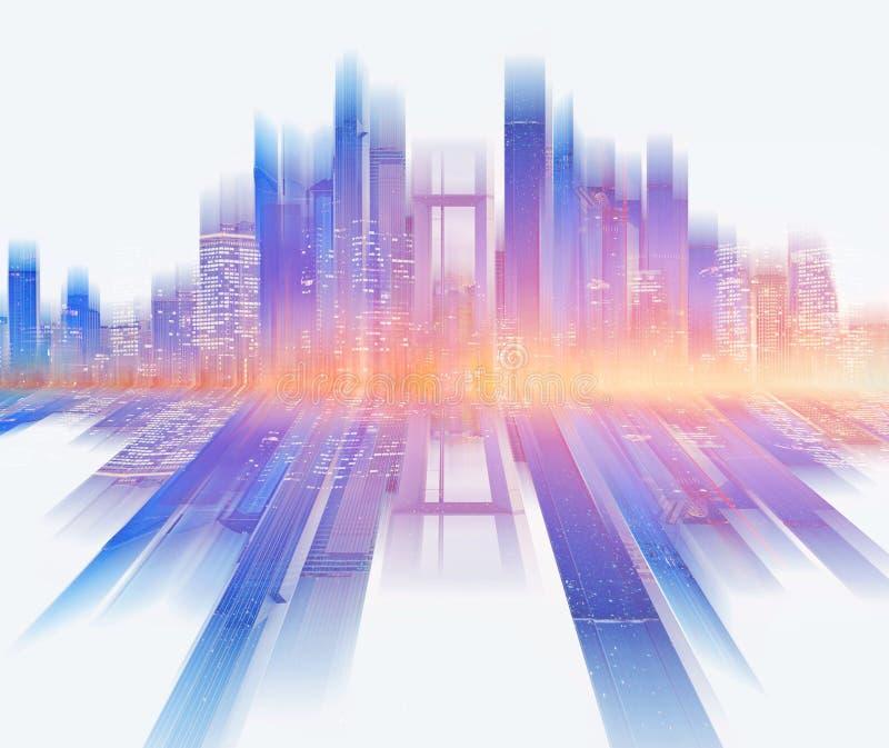 Skyline colorida da cidade da construção do arranha-céus, no fundo branco Fundo abstrato da cidade foto de stock