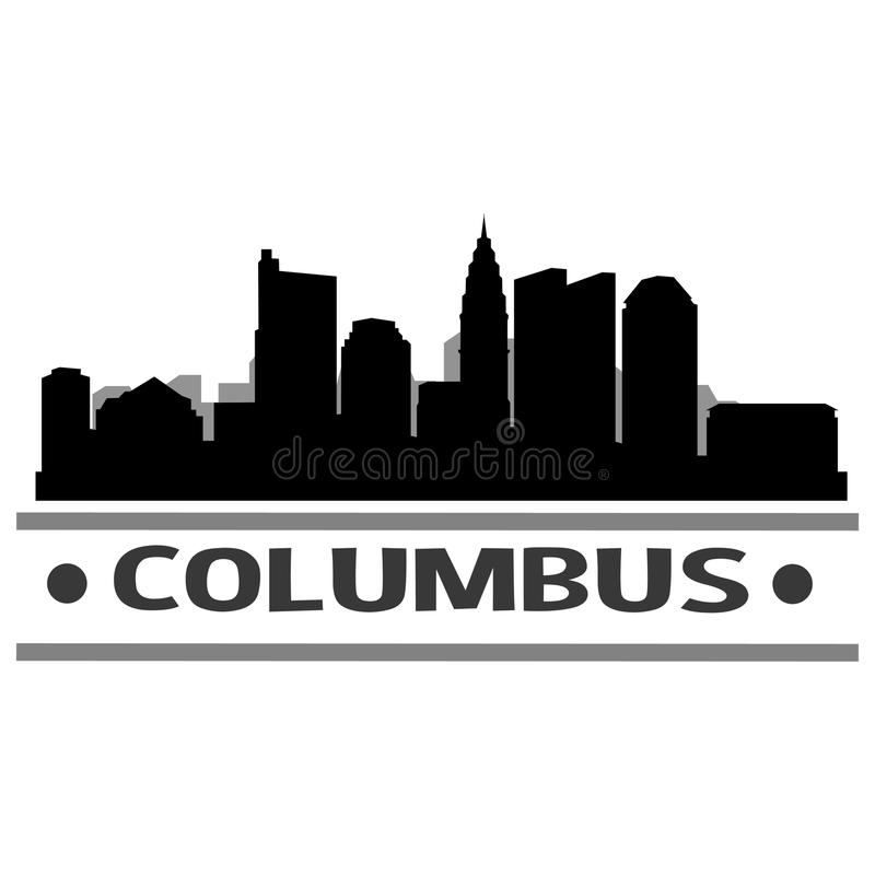 Columbus Skyline City Icon Vector Art Design. A skyline of Columbus city with emblematic buildings stock illustration