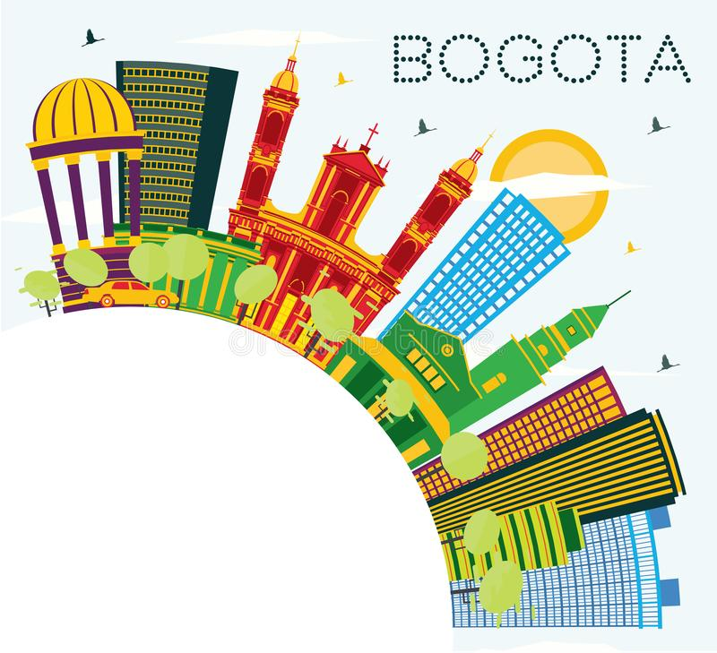 Skyline com construções da cor, céu azul da cidade de Bogotá Colômbia e ilustração stock