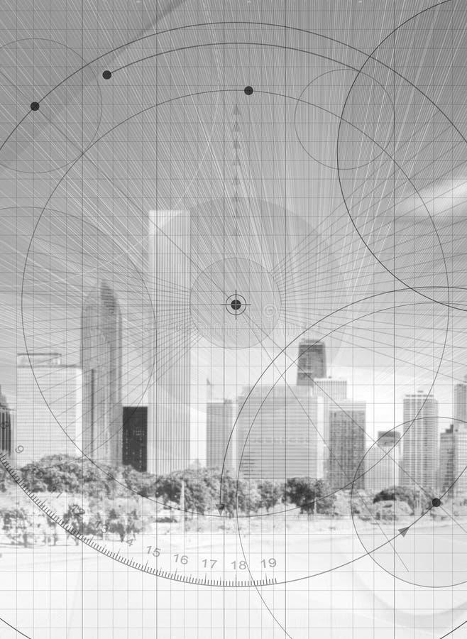 Skyline com detalhe do modelo ilustração stock