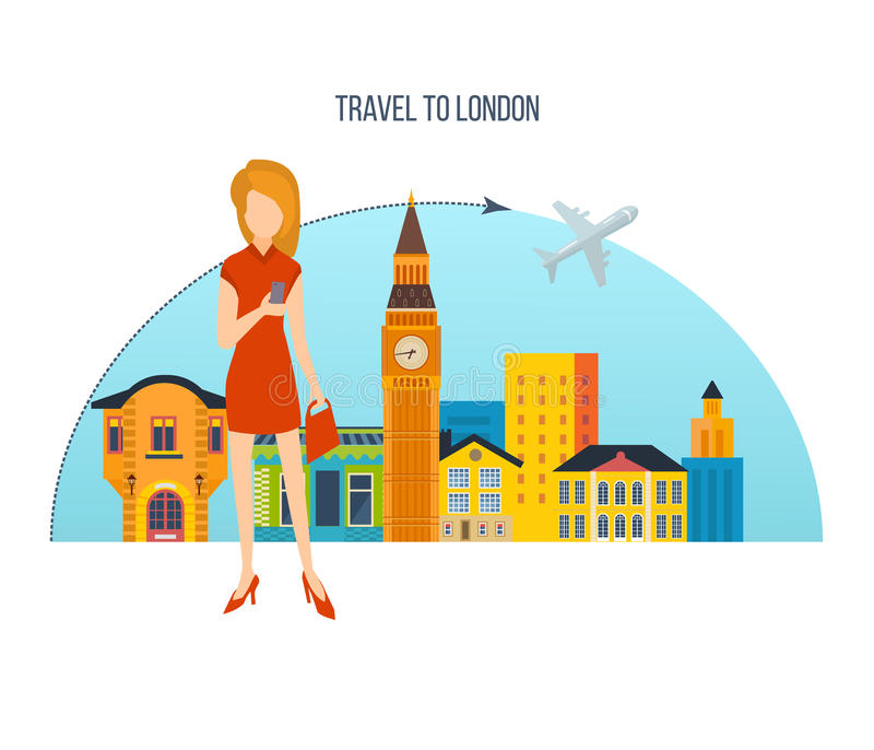 Skyline Concept - trip to London, a visit city and attractions. royalty free illustration