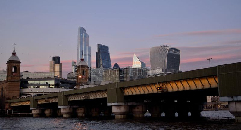 The skyline continues to evolve, with new structures like 22 Bishopsgate, the Scalpel and a raft of new towers at Canary Wharf royalty free stock photography