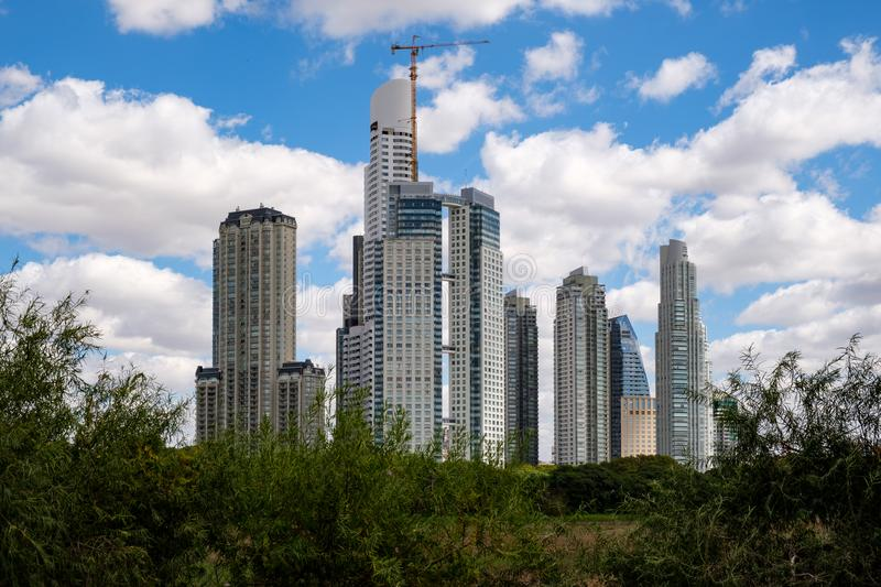 Skyline of Buenos Aires Argentina and blue sky royalty free stock photography