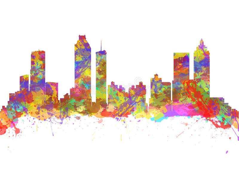 Skyline da aquarela de Atlanta Geórgia EUA imagem de stock royalty free