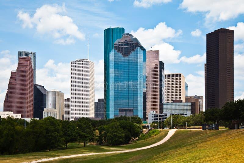Skyline da baixa da arquitectura da cidade de Houston Texas fotos de stock royalty free