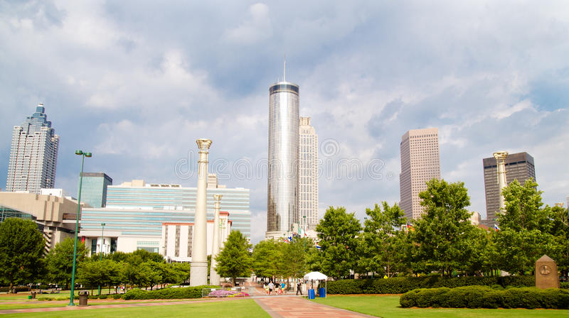 Skyline da baixa de Atlanta imagens de stock