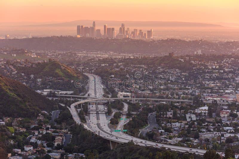 Skyline da baixa de Los Angeles imagem de stock