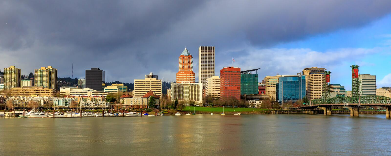 Skyline da baixa de Portland imagem de stock