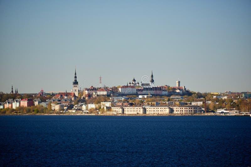 skyline da capital Báltico de Estônia Tallinn fotografia de stock