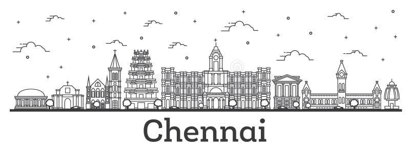 Skyline da cidade da Índia de Chennai do esboço com construções históricas Isola ilustração stock
