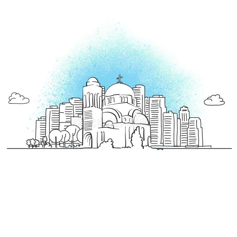 Skyline da cidade com igreja ortodoxa ilustração royalty free