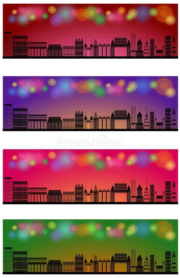 Skyline da cidade da bandeira de encabeçamento da Web ilustração do vetor