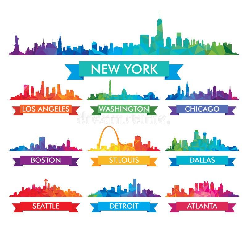 Skyline da cidade da ilustração colorida de América ilustração do vetor