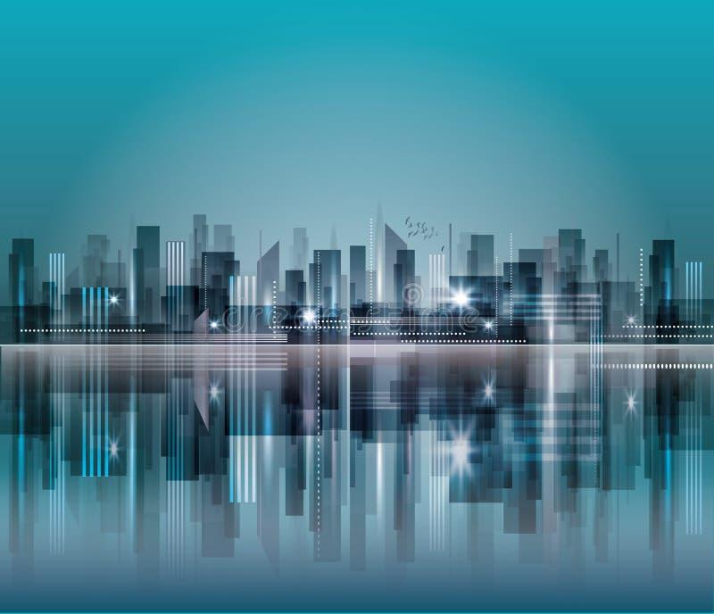 Skyline da cidade da noite ilustração do vetor