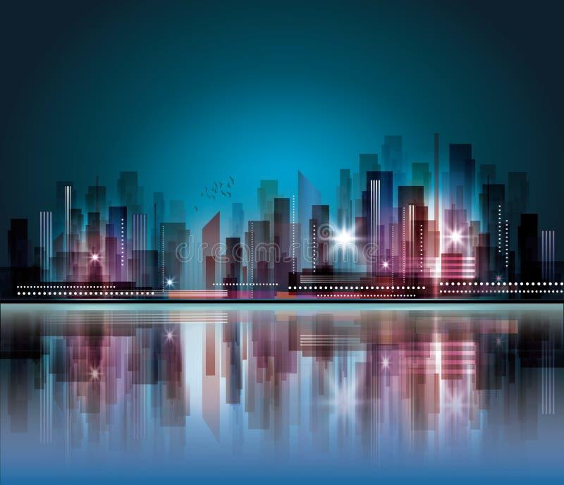 Skyline da cidade da noite ilustração royalty free