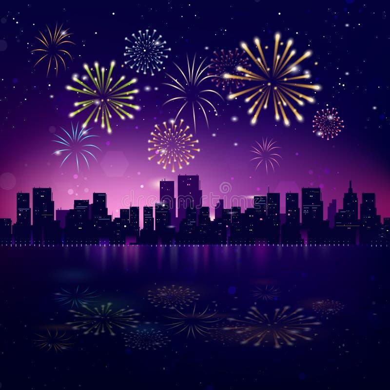 Skyline da cidade da noite com fogos-de-artifício ilustração royalty free