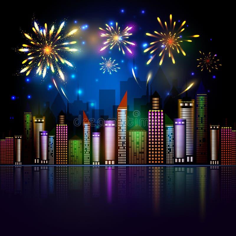 Skyline da cidade da noite com fogos-de-artifício ilustração stock