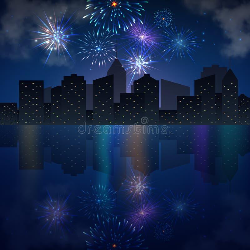 Skyline da cidade da noite com rio e fogos-de-artifício ilustração do vetor