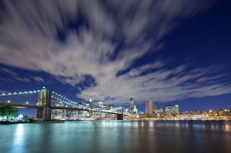 Skyline da cidade da ponte e do Manhattan de Brooklyn imagens de stock